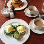 Eggs Florentine and Fruit Pancakes