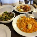 Brussels sprouts, cod paella, and huevos rancheros