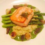 Salmon with quinoa asparagus purée parsley pearl onions and morel mushrooms.