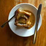 Scrumptious sticky bun with hot sauce