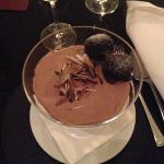 yummy chocolate mousse with mini brownies