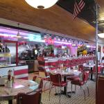 Inside of diner, a 1950s feel. Great atmosphere.