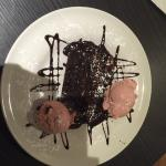 Chocolate fudge cake and ice cream