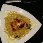 Chilean Seabass/spinnich and fettuccine . Best cream of mushroom soup of all time