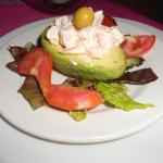 Avocado filled with shrimp salad
