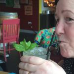 Trying her first mojito lol