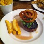 Steak with pepper sauce and chunky home made chips