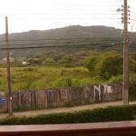 Vista da sala de café para o morro da Barra/Galheta