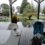 Beautiful Coffee on a miserable day. Outside deck