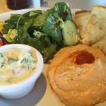Hummus and salad platter