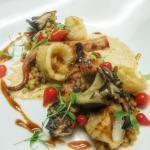 charred octopus, kimchi, calamari, balsamic