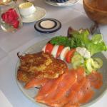 Smoked salmon and potato pancakes