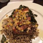 Blackened salmon, wild rice & collard greens. Yummy