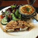 Panini with garden salad and french onion soup