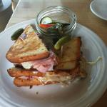 Toastie with rosemary ham, Iowa-made cheese, and a cherry spread