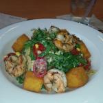 Shrimp arugula salad with roasted corn and warm polenta croutons... nuff said!
