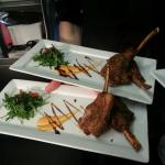 Lemon pepper lamb 'lollipops' with chilli yoghurt & rocket salad. Home made chocolate fudge brow
