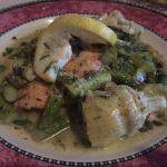 Salmon Carriochio with asparagus, artichokes and capers - delicious!