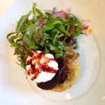 Beetroot tart with goat's cheese