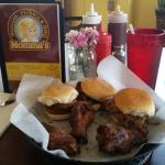 Sliders and wings!  Pork, sausage and brisket