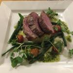 Rump of lamb with nicoise potatoes, cherry tomatoes and green beans