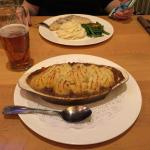 Shepherds Pie, with Gaelic Chicken in the background