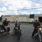 The guys and I trying out their different bikes!