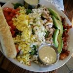 Beautiful Cobb salad (with feta).  Delicious shrimp and crab dip in the background!