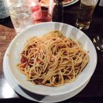 "This is what arrived when I ordered ""spaghetti bolognese"" from the menu.  A pile of spaghetti in"