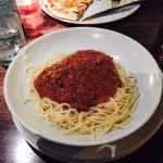 After complaining about the dish (waitress said the bolognese was under the spaghetti.  It wasn'