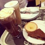 Hot choc & hazelnut latte with lemon tart and chocolate tiffin.