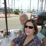Enjoying an excellent breakfast with a view of the ocean from outside dining at Beach Garden Caf