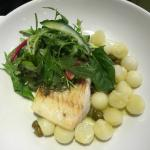 Whiting with baby potatoes and salad