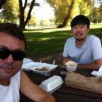 Thanks giving with my Japanese friend at Toronto Island