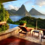 Jade Mountain View of Pitons from Sanctuary