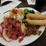 Corned beef, bok choy beef and egg roll