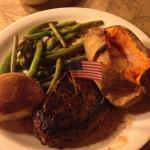 Bison Filet, Baked Sweet Potato, Sauteed Green Beans, Roll