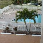 View of the pool area from our deck