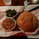 BBQ beef sandwich, collard greens and baked beans