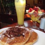 Chocopancakes, bowl of fruits and a jumbo juice!!