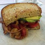 My grilled Veggie sandwich - everyone else had a Reuben.
