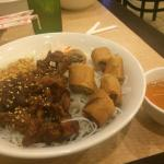 Vermicelli with bbq pork and egg rolls