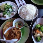 Beef mussaman curry, veggies & coconut greens
