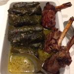 Stuffed vine leaves with lamb cutlets
