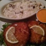 Crab cakes and pecan risotto
