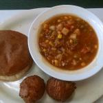 BBQ Pork Sandwich, hush puppies and Brunswick stew