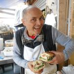 The sandwich maestro showing off my sandwich!