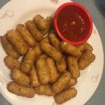 Mozzarella sticks! Crazy amount. We took it to go.