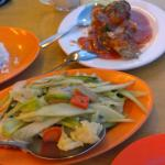 garoupa sambal nyonya style and mixed veggies with oyster sauce