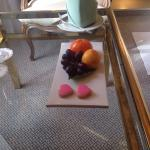 Complementary fruit and pastry at arrival